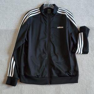 Adidas black and white zip up jacket size xl euc